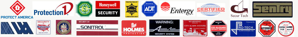 Logos of companies Rooney & Associates has worked with in the alarm industry